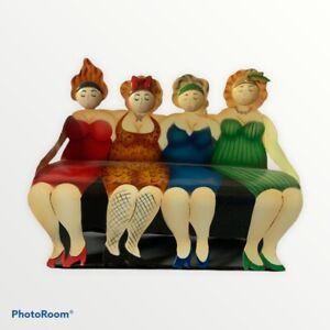 Small Tin Decorative Bench - 50's Girls In Swimwear Red Blue Green Leopard