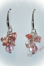Cluster Earrings (pale Pink) Cherry Quartz & Crystal..Silver Plated Hallmarked.