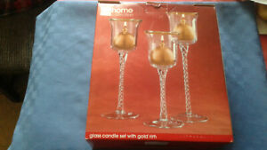 JC Penny Home Collection Glass Candle Set with Gold Trim New in Box