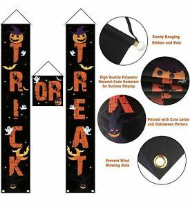 Trick Or Treat Halloween Front Door Decoration Banner Pumpkins Black