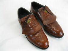 Vtg Jack Nicklaus Men's Brown Leather Kilt Saddle Bear EM Golf Shoes sz 9.5 D