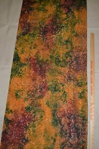 "Cotton quilting fabric 44"" x 2 yards, batik - dark red, blue, orange, brown"