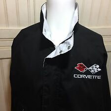 Corvette GM Chevrolet Black White Men Full Zipper Snap Button Jacket Coat M