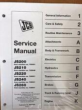 JCB Service JS200, JS210, JS220, JS240, JS260 Wheel Excavator Repair Manual