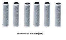"""Cartouche Filtre charbon actif BLOC anti chlore 10"""" CTO (LOT DE 6)"""