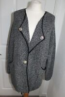Ladies Grey Long Sleeve Thin Knit Cardigan Jacket Size M Button pockets warm