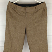 Eddie Bauer Vashon Fit Brown Wool Women's Size 8 Wide-Leg Fully Lined Pants LNC
