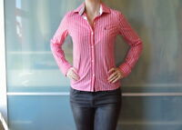 JACK WILLS red white stripe semi fitted shirt & contrasting cuffs ~ UK 8