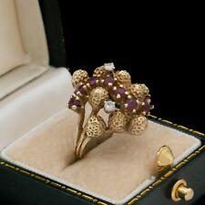 Antique Vintage Deco Mid Century 14k Bi Gold Ruby Diamond Pinky Band Ring S 4.25