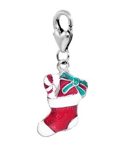 Christmas Stocking Red Enamel Holiday Lobster Claw Clip On Charm for Bracelets