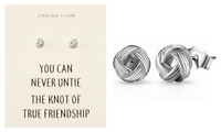 Sterling Silver Friendship Knot Earrings with Quote Card