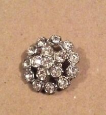 Sparkling Crystal Button In White Metal
