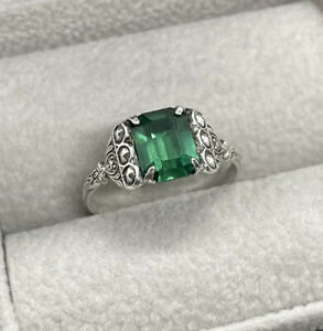 Vintage Art Deco Silver Ring Green Stone Paste Marcasite Size M