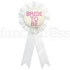 Bride To Be Rosette White Hen Night Hen Do Ladies Night Out NEW
