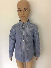 Ralph Lauren Long Sleeve Shirt Size Age 4T, Blue White Pinstripe, Immaculate