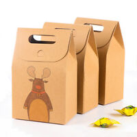 10Pcs Kraft Paper Xmas Party Cookies Candy Present Gift Bag Luxury Wedding Bag