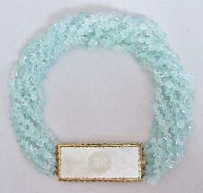 """17"""" Aquamarine Beaded Torsade & 14K Necklace with Antique Chinese MOP Game Token"""