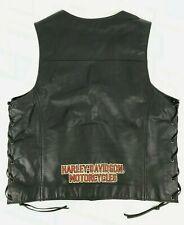 Authentic Harley Davidson Black Genuine Leather Vest Motorcycle Gear Mens Size L