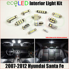 Fits 2007-2012 Hyundai Santa Fe WHITE LED Interior Light Accessories Kit 9 Bulbs