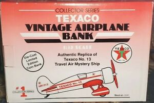TEXACO Vintage Die-Cast Limited Edition Airplane Coin Bank SERIES 1 HOLIDAY GIFT