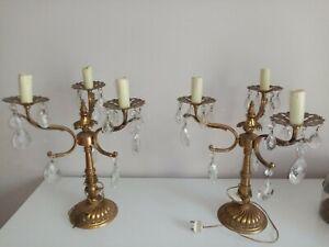 Ancienne Paire De Lampes Chandeliers bronze À Pampilles