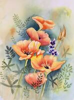 California Poppies Original Watercolor Painting