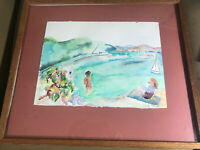 "Vintage Impressionist ""Beach Scene"" Watercolor Painting - Signed And Framed"