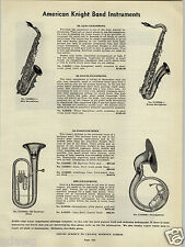 1941 PAPER AD American Knight Sax Saxophone Sousaphone Cadet Flute Clarinet