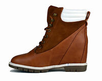 LADIES WOMENS WEDGE TRAINER NEW MILAN STYLE BOOT SHOE BLACK BROWN SIZE 3,4,5,6,7