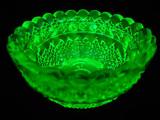 Green Vaseline Clarke Pyramd glass Fairy lamp votive candle holder uranium bowl