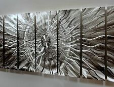 Abstract Metal Wall Art Extra Large Multiple Panel Silver Eye of the Storm XL