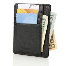 Genuine Leather Money Clip ID Credit Card Case Holder Wallet Front Pocket Purse