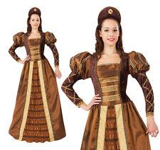 Ladies Golden Queen Fancy Dress Costume Tudor Renaissance Queen Outfit UK 10-14