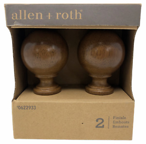 Allen + Roth Set Of 2 Tobacco Finish Drapery Curtain Rod Finials 0622933