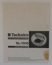 Original Technics SL-1300 Plattenspieler Operating Instructions