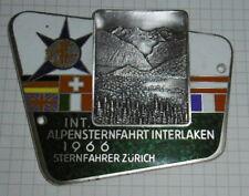 kfz plakette alt stern fahrer zürich int alpen fahrt interlaken auto schild 1966