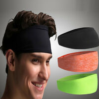 Womens Mens Solid Turban Head Warp Hair Bands Wide Elastic Sport Yoga Wear 1PCS