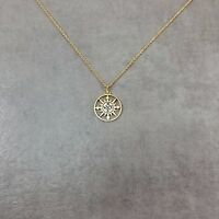 Sterling Silver North South East West Compass Travel Medallion Pendant Necklace