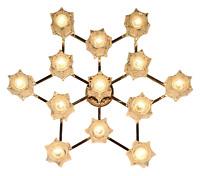 Decken Leuchte Kinkeldey Glas & Stahl Design Lampe Vintage 60er 70er Jahre
