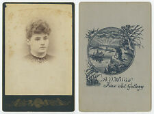 CAB PHOTO LADY W/ CURLY HAIR + BOOT/SHOE CHARM/TRINKET PORTRAIT BY WILLIS