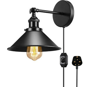 Plug In Wall Light Fitting Black Sconce Wall Lamp fitting Light Shade Wall Light