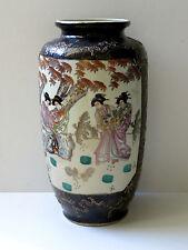 C. XXe-vintage japonais satsuma peint main vase en porcelaine bleu cobalt