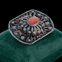 Antique Vintage Nouveau 925 Sterling Silver Etruscan Red Onyx Pin Brooch 15.7g