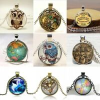 Vintage Steampunk Cabochon Glass Silver Bronze Pendant Necklace Statement Jewelr