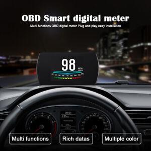 Smart Car OBD2 Gauge HUD Head-Up Digital Display Speedometer MPH Turbo RPM Alarm