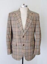 VGC Vtg 70s SUPERFLY Green Brown Plaid Wool Tweed Blazer Disco Pimp Jacket 38