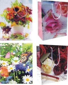 12 Geschenktaschen medium, Geschenkbeutel mit Kordel und Kärtchenl, 4 Motive NEU