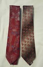 Two Wembley ties both 100% polyester 1 grey and peach and one red w/flowers