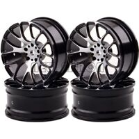 Aluminum 7Y Spoke Wheels/Rims 1055 RC 1/10 BLACK On-Road Drift Sakura HSP Tamiya