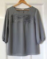 ELEGANT Sequin Detail  Gray Top Blouse UK 14 PER UNA Party Christmas